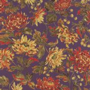 Moda Autumn Elegance by Sentimental Studios - 4788 - Autumn Blooms Metallic Floral, Red and Yellow on Purple - 33110 13M - Cotton Fabric